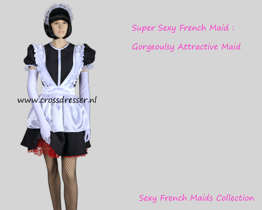 Super Sexy French Maid -  A Gorgeously Attractive Classy Crossdresser French Maid Costume