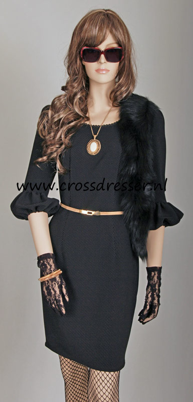 Example Custom Made Outfit: Black Cocktail Dress - an original design made by MBG Fashions and available via crossdresser.nl