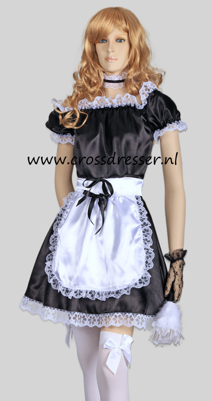 Example Classic French Maid in Black Satin - We modestly advise: whatever you would like to wear, we are confident that we can realise it for you.