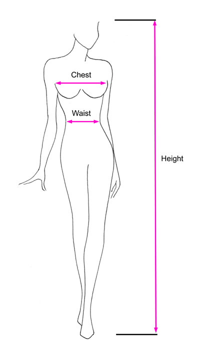 Standard Size Measurement Outline Diagram for Crossdresser.nl